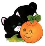 Halloween Kitten with Pumpkin